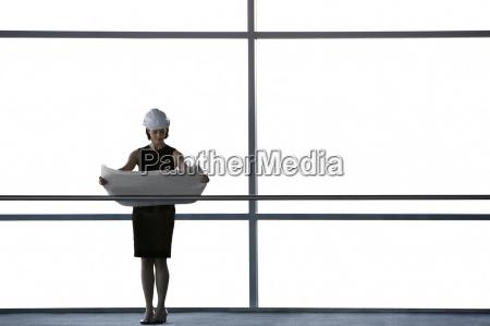 frau, büro, flur, innen, model, entwurf - 12901264