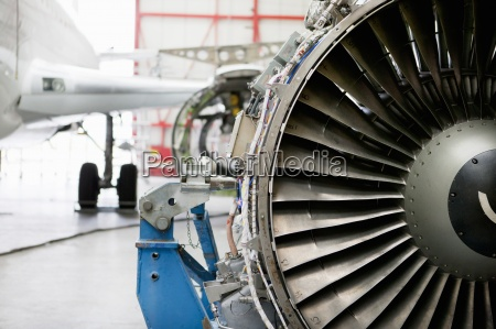 close up of passenger jet engine