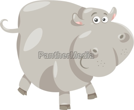 cute hippopotamus cartoon illustration