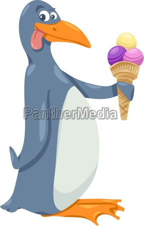 pinguin mit eiscreme cartoon