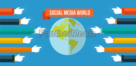 social media world concept flat illustration