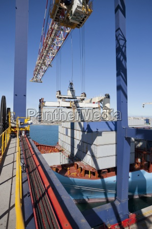 crane loading cargo containers onto container
