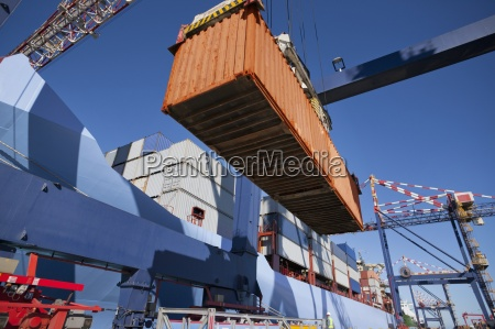 kranentladung, containerschiff, am, dock - 12931362
