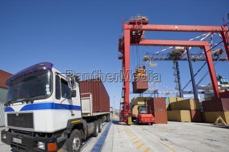 kranfrachtcontainer, am, dock - 12931324