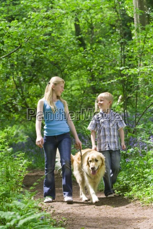 children and dog walking in forest