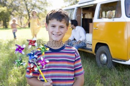 boy 6 8 with pinwheel family