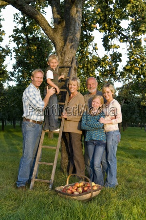 family of three generations by ladder