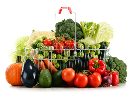 shopping basket with assorted raw organic