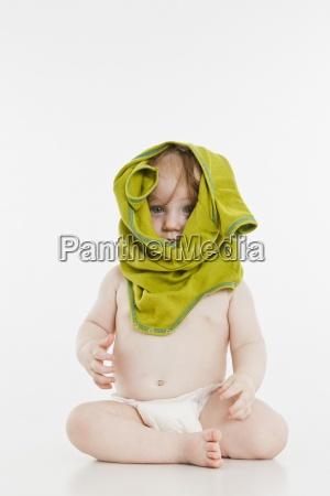 colour female green portrait baby barefoot