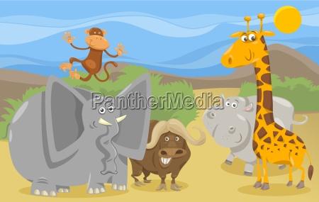 safari animals group cartoon illustration