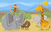 safari animals group cartoon illustration