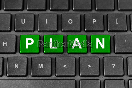 business planning word on keyboard