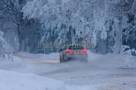 car in winter orlicke hory czech