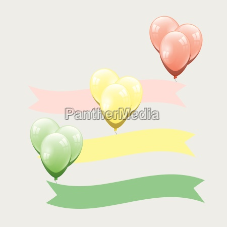 colorful balloon with ribbon element