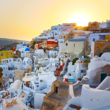 oia village on santorini in sunset
