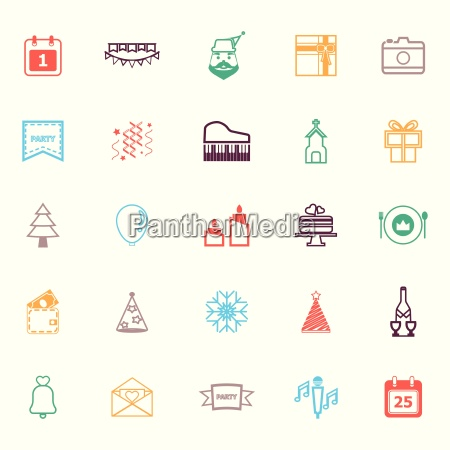 christmas and new year line icons