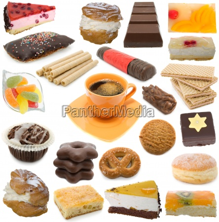 confectionary collection isolated on white background