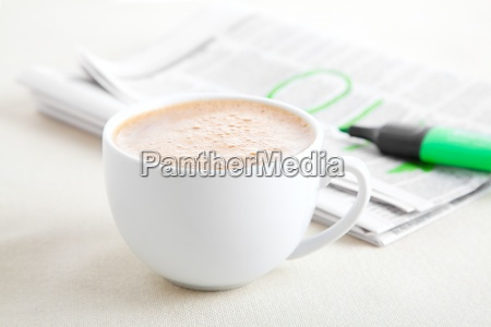 morning coffee with newspaper