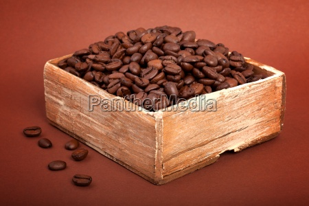 coffee beans in the wooden box