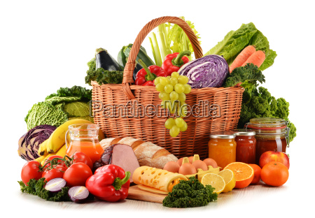variety of organic grocery products isolated