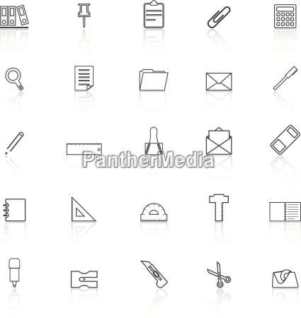 stationery line icons with reflect on