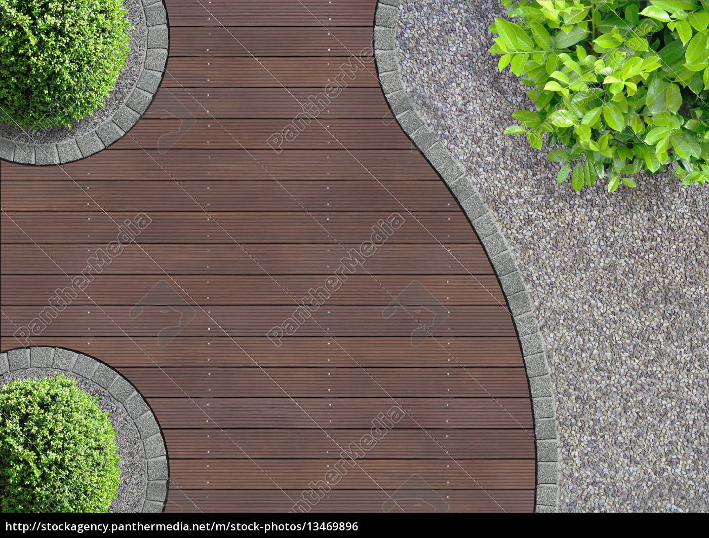 gartenarchitektur detail von oben mit bangkirai lizenzfreies foto 13469896 bildagentur. Black Bedroom Furniture Sets. Home Design Ideas