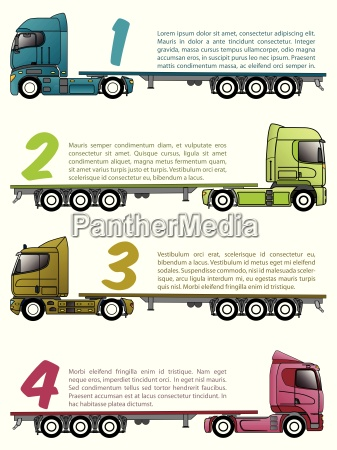 truck infographics design with various choices