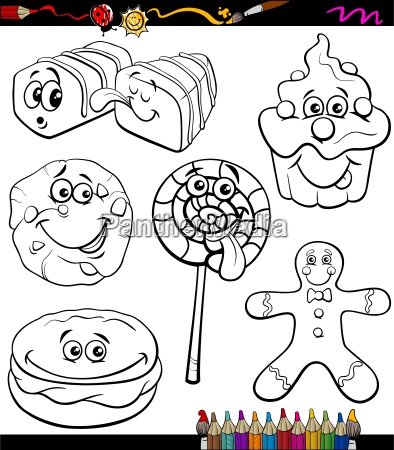 sweets set cartoon coloring book