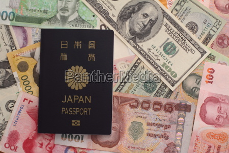 japanese passport and bills