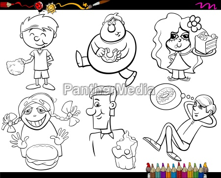 sweets and kids coloring page set