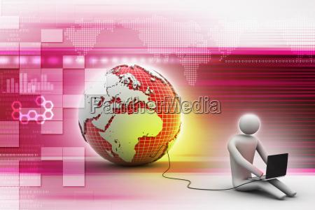 3d man sit near the globe