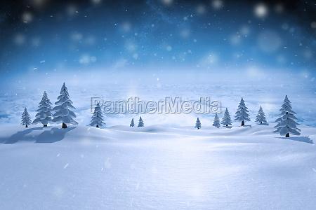 composite bild von schneebedeckten landschaft