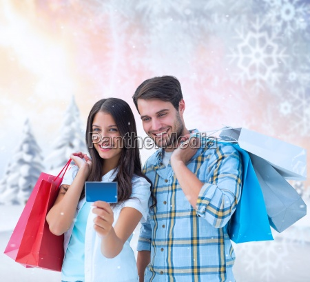composite image of couple with shopping