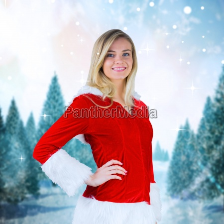 composite image of pretty girl smiling