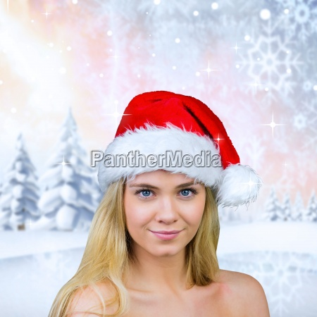 composite image of blonde with bare