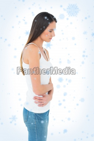 casual woman with stomach pain and