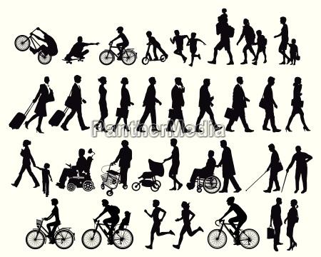 menschen in bewegung und aktivitaeten