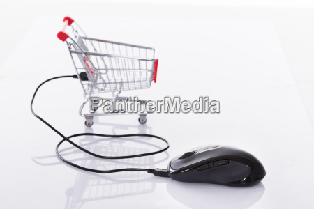 computer mouse connected to shopping cart