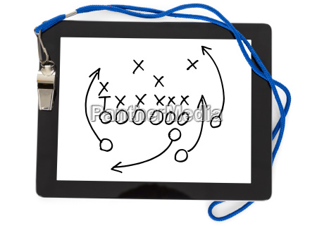 football strategy and whistle on digital