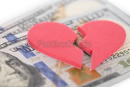 broken heartshaped on us currency