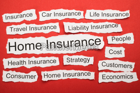 home insurance text on piece of