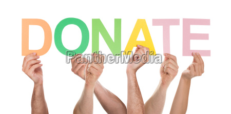 people hands holding colorful text donate
