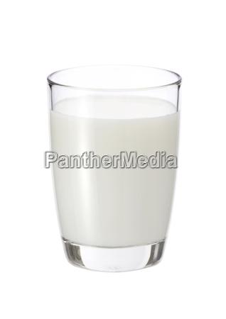 frische milch in das glas auf