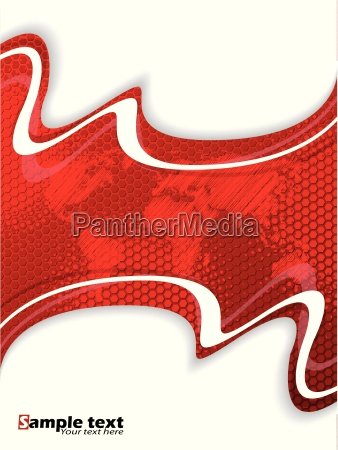 red business brochure with hexagon pattern