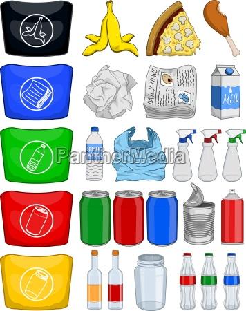 lebensmittel flaschen dosen papier abfall recycle