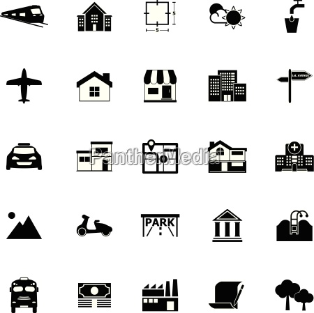 real estate icons on white background