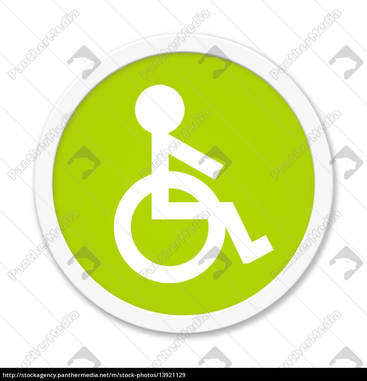 runder, grüner, button, mit, rollstuhl, symbol - 13921129