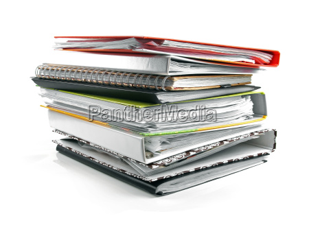 stack of folders isolated on white