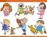 kids with pets cartoon set