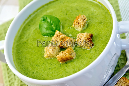 soup puree with spinach leaves and